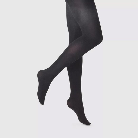 Opaque Control Top Black Tights Stockings